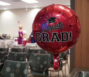 """Project SEARCH balloon that says """"Congrats Grad"""""""
