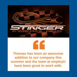 image of stinger fiberglass testimonial