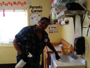 Photo of Brijida Marcano cleaning