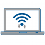 computer with wifi icon