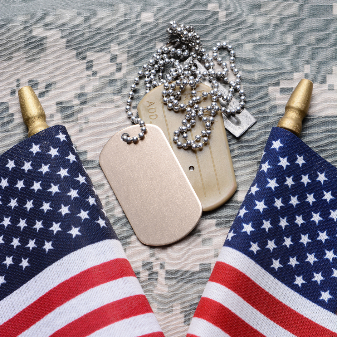 Photo of dog tags and American flags