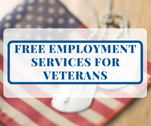 Free Employment Services for Veterans with American Flag and Dog Tags