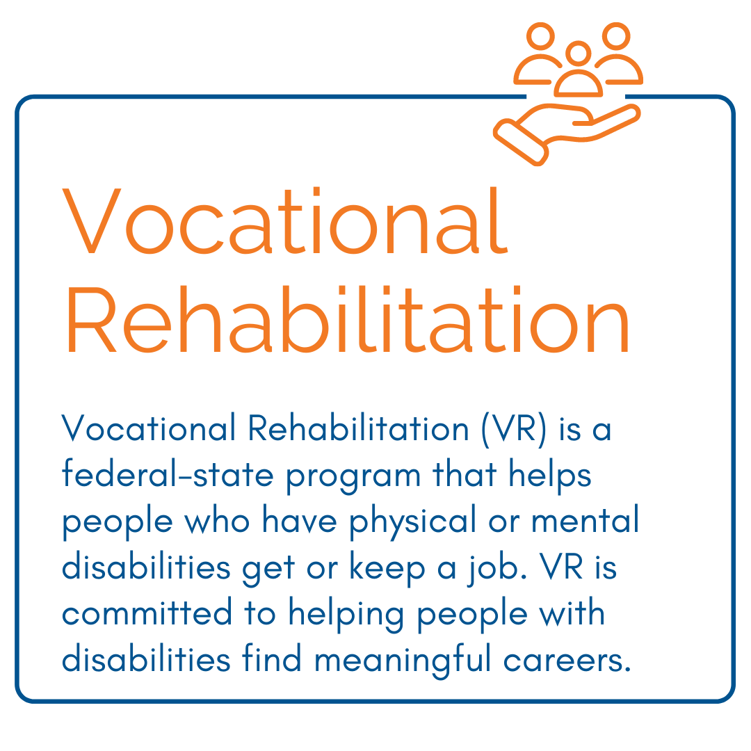 Voc Rehab - Vocational Rehabilitation (VR) is a federal-state program that helps people who have physical or mental disabilities get or keep a job. VR is committed to helping people with disabilities find meaningful careers.