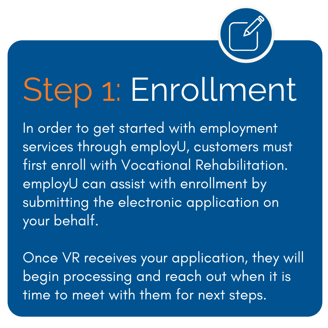 Enrollment - In order to get started with employment services through employU, customers must first enroll with Vocational Rehabilitation. employU can assist with enrollment by submitting the electronic application on your behalf. Once VR receives your application, they will begin processing and reach out when it is time to meet with them for next steps.