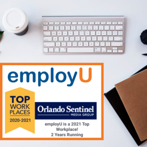 employu top workplaces logo and a computer keyboard